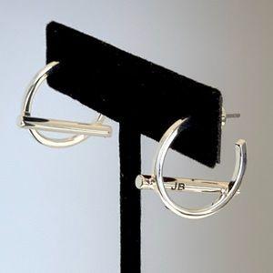 Jenny Bird Silver Hoop and Bar Earrings NWT